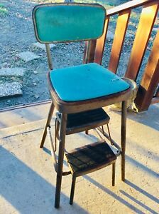 Vtg Cosco Step Stool Kitchen Metal Mid Century Modern Turquoise Folding Chair