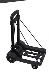 Folding Cart Dolly Push Aluminum Luggage Hand Truck Cart Collapsible Trolley