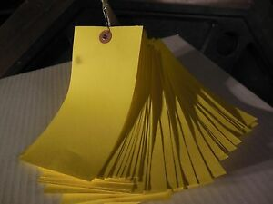 1000 Yellow Wire Strung Tyvek Shipping inventory Tags 6 25 X 3 125
