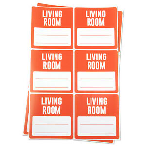 Living Room Blank Memo Note Home Moving Box Apartment Shipping Stickers 3 x3
