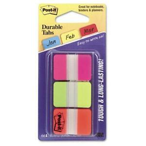 Sticky Note 686 pgo Durable File Tabs 1 X 1 1 2 Assorted Fluorescent Colors