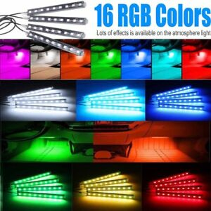 4pcs Car Interior Atmosphere Lights Neon Strip 9led Wireless Ir Remote Control