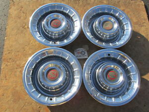 1956 Cadillac Deville Series 62 Fleetwood 15 Wheel Covers Hubcaps Set Of 4