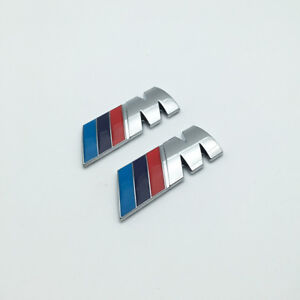 2pcs Silver Chrome Metal 3d M Side Badge M Power Logo Car Emblem For M3 M5 M6
