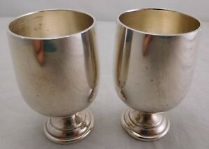 2 Baldwin Miller B M Sterling Silver Footed Cordial Shot Glass Set