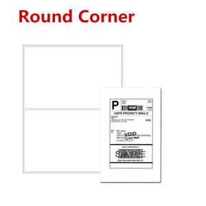 Round Corner 200 5000 Half Sheet Shipping Labels Self Adhesive For Usps Fedex