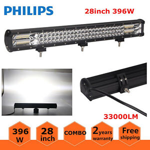 28inch 396w Cree Led Light Bar Spot Flood Combo Driving 4wd Tri Row 7d Lens 180w