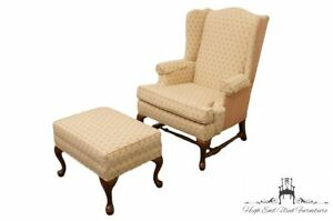 Ethan Allen Wingback Accent Arm Chair W Matching Ottoman