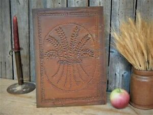 Vintage Rustic Primitive Punched Tin Wheat Pie Safe Panel 10 X 14