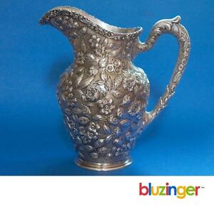 Important Baltimore Silversmiths 1903 1905 Sterling Silver Repousse Pitcher