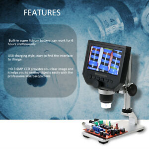 1 600x Digital Microscope Zoom Led 3 6mp Hd Camera Video Recorder Microscopio