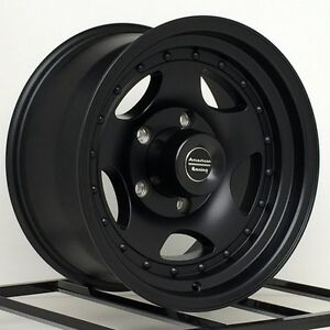 15 Inch Black Wheels Rims Chevy Gmc Truck 5 Lug 5x5 15x8 American Racing Ar23
