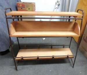 Rare Vintage European Mid Century Modern Iron Walnut Shelf Bookcase Unit 2