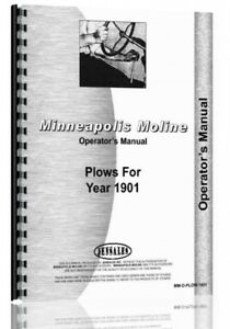 Operators Manual 1901 Minneapolis Moline Horse Drawn Plow