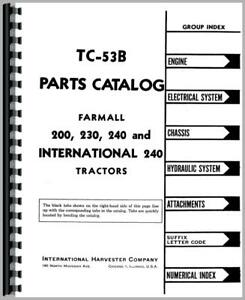 Parts Manual International Farmall 230 240 200 Tractor