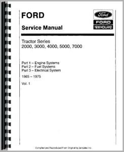 Service Manual 1965 1975 Ford 2000 3000 4000 5000 7000 Tractor