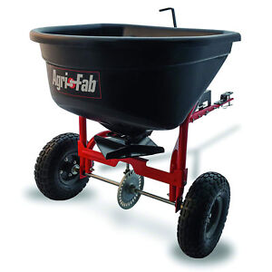 Agri fab 110 Pound Capacity Tow Broadcast Spreader With 10 Foot Spread Black