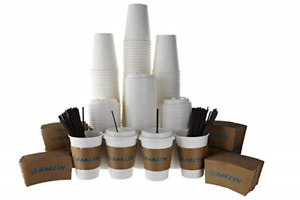 120 Pack 12 Oz Hot Paper Coffee Cups With Lids Sleeves Stirring Straws