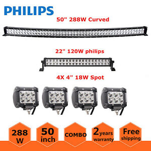 50inch 288w Curved Led Light Bar Offroad Ford 22inch 120w 4 18w Pods Slim 48 52