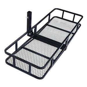 New 500lb Luggage Basket Cargo Carrier Hauler Hitch Mounted Receiver Black