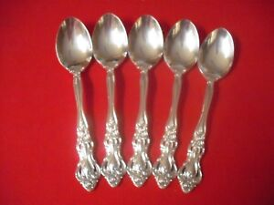 5 1847 Rogers Silverplate Teaspoons 1985 Grand Antique 5