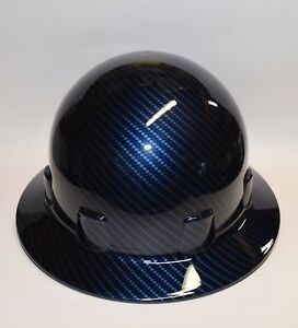 New Custom Hydro Dipped Sleek Shell Wide Brim Hard Hat In Candy Blue Carbon