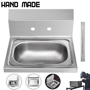 Commercial Wall Mount Kitchen Sink Handmade Washing Sink Nsf Stainless Steel