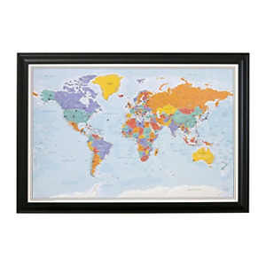 Push Pin World Travel Map With Black Frame And Pins Blue Oceans 24 X 36