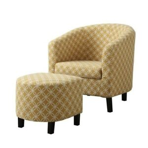Monarch Barrel Chair And Ottoman Fabric Upholstery Living Room Accent Yellow NEW