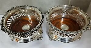 Pair Large Silver Plated Wine Champagne Bottle Coasters Quality