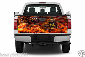 Amererican Flag Flaming Fireman Truck Tailgate Vinyl Graphic Decal Sticker Wrap
