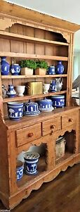 Antique Rustic Wood Country Welsh English Cupboard Hutch Sideboard Dresser 19 C