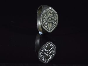 Medieval Crusaders Period Bronze Heraldic Seal Ring With Floral Motif T94