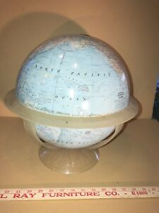 Vintage National Geographic World Globe W Acrylic Base Earth Space Boy Girl