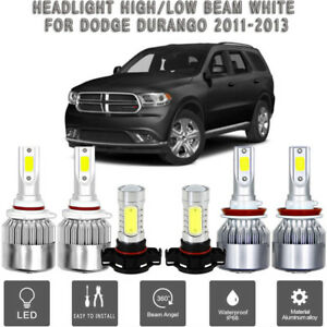 6x Cob Led Headlight fog Light Suit For Dodge Durango 2011 2013 White 6000k Bulb