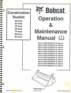 Bobcat 60 62 66 68 74 80 84 Combination Bucket Operation Maintenance Manual