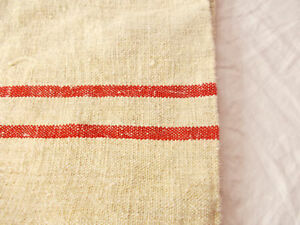 A Vtg Antique Red Stripe Hemp Linen King Pillowcase Feed Sack Grain Bag 23x33
