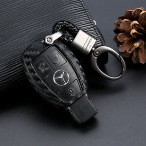 1x Carbon Fiber Car Key Case Protector Accessories For Mercedes Benz Us Shipping