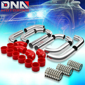 3 Turbo Fmic Front side Mount Intercooler Silver Aluminum 12p Piping hose clamp