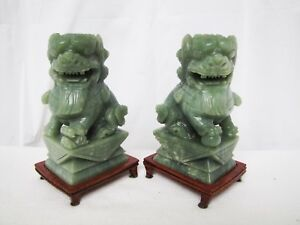 Pair Of Vintage Chinese Jade Foo Dog Lion Statues Bookends