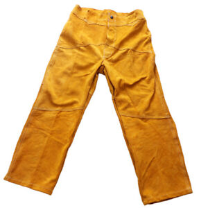 Leather Welding Pants trousers Protective Clothing Apparel Suit For Welder