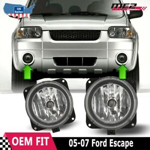 For Ford Escape 05 07 Bumper Driving Fog Lights Lamps Replacement Pair Clear
