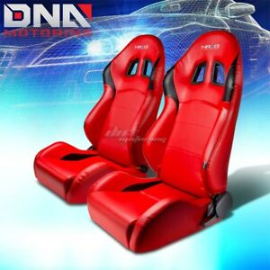 X2 Nrg Pvc Leather Red black stitch Fully Reclinable Racing Seat seats sliders