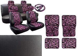 Pink Zebra Deluxe Leatherette 13pc Full Car Seat Cover Set Premium Synthetic