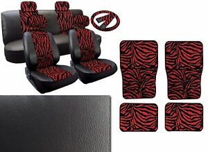 Red Zebra Deluxe Leatherette 13pc Full Car Seat Cover Set Premium Synthetic