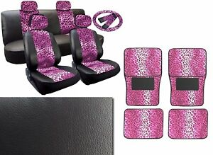 Pink Leopard Deluxe Leatherette 13pc Full Car Seat Cover Set Premium