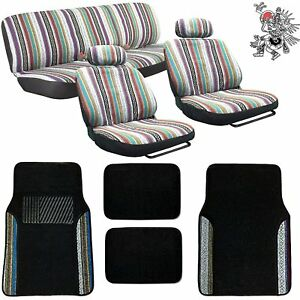 Baja Inca 12pc Saddle Blanket Seat Covers Set With Match Plush Two tone