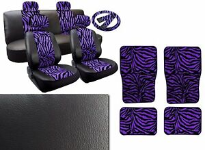 Purple Zebra Deluxe Leatherette 13pc Full Car Seat Cover Set Premium