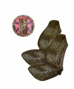 Tan Leopard Print 5 piece Highback Seat Covers Steering Wheel Cover