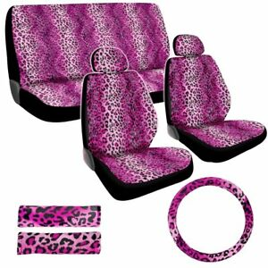 Premium New Style Pink Leopard 11pc Low Back Front Seat Covers Bench Seat